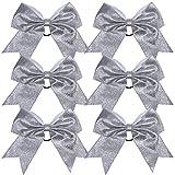Cheerleader Bows Cheerleading 8 inch Sparkle Ponytail Holder Hair Tie Schoolfor High School College Girl Team Sports 6 Pcs … (Silver)