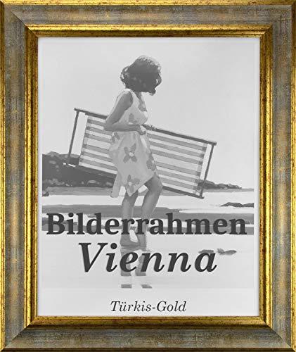 Homedeco-24 Bilderrahmen Vienna aus Massivholz 60 x 80 cm in Türkis Gold mit Acrylglas klar 1mm
