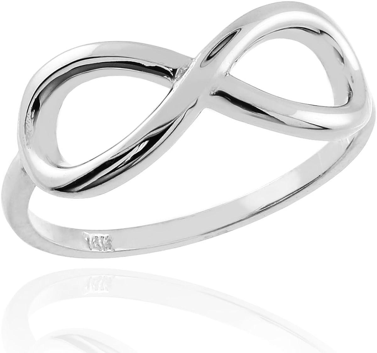 Polished 14k White Gold Infinity Ring
