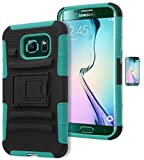 Galaxy S6 Edge Case, Bastex Heavy Duty Hybrid Protective Soft Teal Silicone Cover Hard Black Kickstand Holster Case for Samsung Galaxy S6 Edge G925INCLUDES Screen Protector