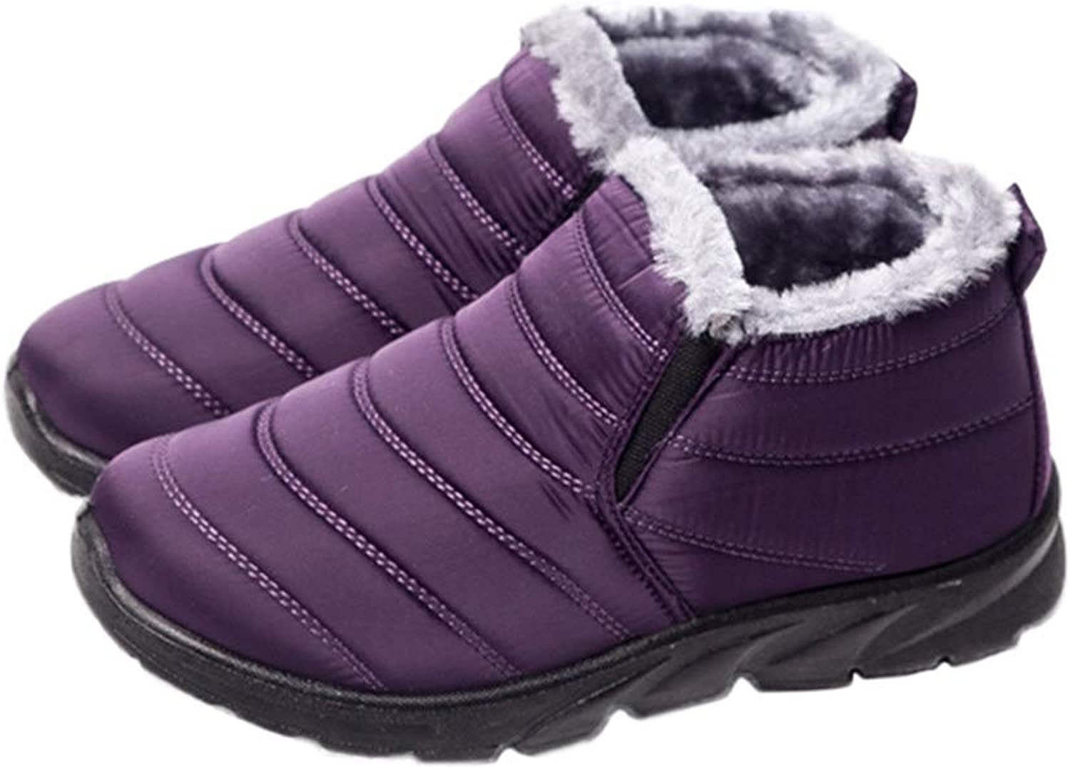 T-JULY Thickening Cashmere Snow Boots Women Keep Warm Plush Cotton Waterproof Autumn Winter Flat Slip-On shoes