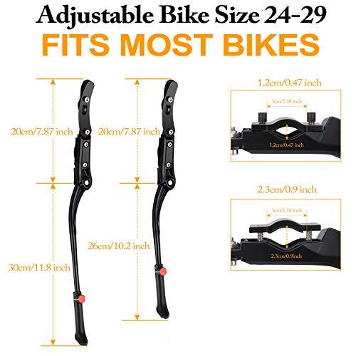 WOTEK Fahrradständer, Seitenständer Fahrrad Universal Aluminiumlegierung Fahrrad Ständer Rutschfester Gummiständer, Mountainbike, Rennrad, Fahrräder und Klapprad, Höhenverstellbar  24-29 Zoll - 3