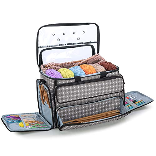 """YARWO Knitting Bag, Yarn Storage Organizer Tote for Knitting Needles(Up to 14""""), Crochet Hooks, Circular Needles, Projects and Skeins of Yarn, Gray Dots (Bag Only)"""