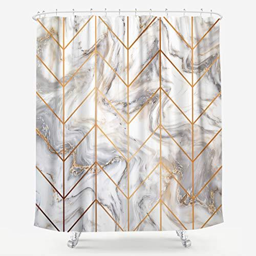 LIGHTINHOME Marmor Duschvorhang Golden Geometrisch Grau Rissige Textur Granit Modern Art Abstrakt Stoff Wasserdicht Badezimmer Home Decor Set 183 x 183 cm 12 Kunststoffhaken