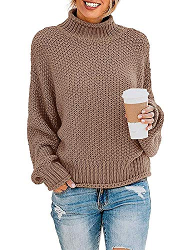 ZESICA Women's Turtleneck Batwing Sleeve Loose Oversized Chunky Knitted Pullover Sweater Jumper Tops Khaki