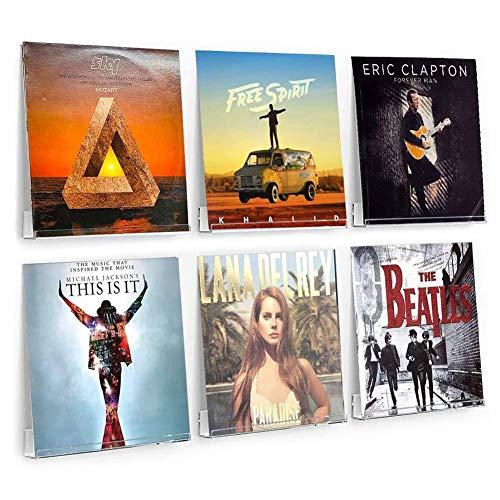 6 Stück transparente Vinyl-Schallplatten-Wandhalterung, Acryl-Album-Halter, Display für Ihre täglichen LP-Hören im Büro oder Zuhause [transparent]
