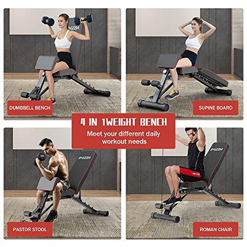Bigzzia Weight Bench Adjustable Strength Training Bench for Full Body Workout All-in-One Durable Exercise Bench Flat/Incline/Decline Workout Bench for Home Gym Dumbbells Bench with Widen Seat (Home)