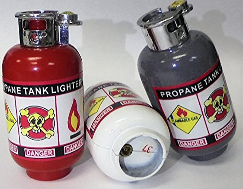5 Mini Propane Tank NOVELTY Refillable Lighters. Child Resistant. Multiple Colors 1535-1-5