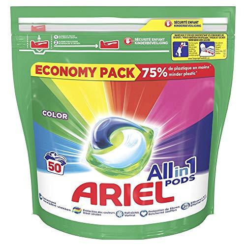 Ariel Allin1 Couleur Lessive en Capsules Liquides, Exceptionnelle Contre Les Taches, 50 Lavages