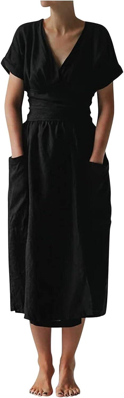Qonii Dresses for Women Casual Summer cheap trend rank Sl Neck Short V Dress Deep