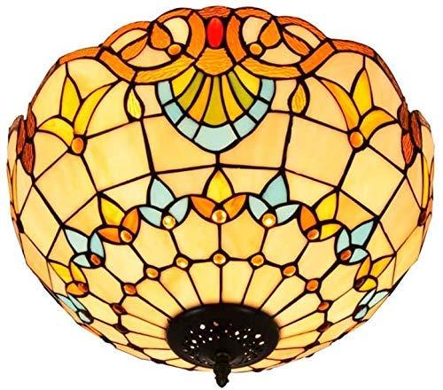 TTFFWW Barocco - Lámpara de techo empotrable, luz Tiffany, semiempotrable, de techo, de cristal de colores, de 16 pulgadas, para comedor