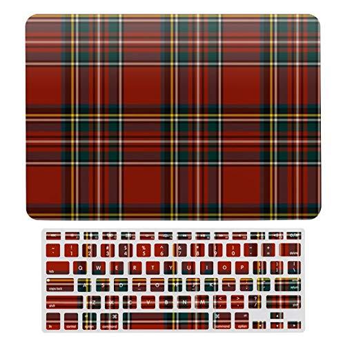Funda rígida para MacBook New Pro 13 Touch de 13 pulgadas para MacBook New Pro 13 Touch funda y teclado de teclado, Classic Red y Blue Royal Stewart Tartan