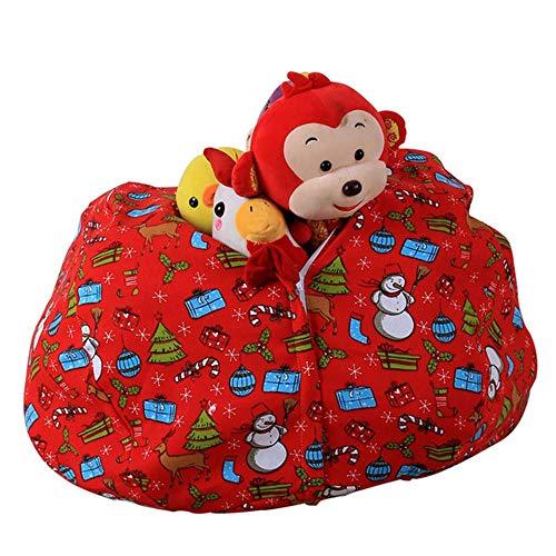 Youngshion Puf de almacenamiento de animales para niños, lona de algodón, organizador de juguetes, silla para guardar cosas de peluche, ropa de mantas, toallas (regalos de Navidad, 66 cm)