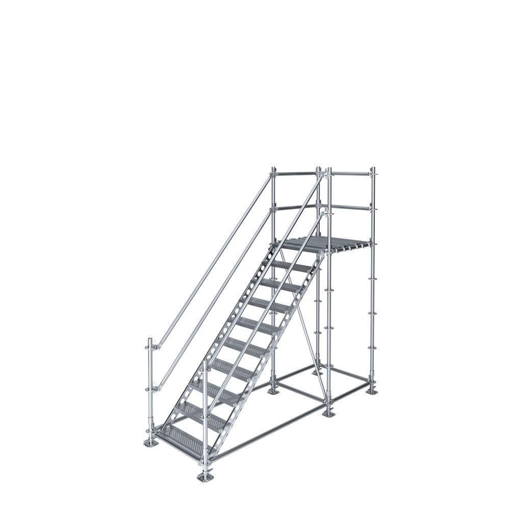 Scafom-rux - Escalera de construcción (para 2 m de diferencia de altura, con pedestal, acero galvanizado): Amazon.es: Bricolaje y herramientas