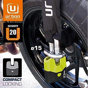 URBAN SECURITY U8K120 Antivol Moto Homologué SRA Chaîne ø14.5 mm, 120 cm, Double Fermeture compacte ø15 Made in EU