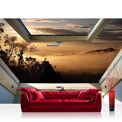 Fototapete 368x254cm PREMIUM Wand Foto Tapete Wand Bild Papiertapete - Landschaft Tapete Bäume Berge Nebel Fenster orange - no. 3300