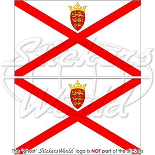 Jersey Flagge Channel Islands UK 7,6cm (75mm) Bumper Sticker, Aufkleber Vinyl X2