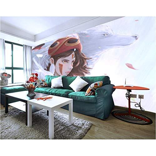 Jukunlun Prinzessin Mononoke Tapete Benutzerdefinierte 3D Große Cartoon Wand Fototapete Kinder Mädchen Schlafzimmer Wohnzimmer Cosplay Wolf-200X140Cm