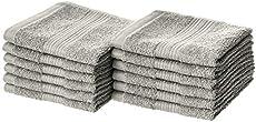 Amazon Basics Fade-Resistant Cotton Washcloth - 12-Pack, Gray