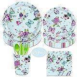Amycute 93 PCS 8 Invitados Set De Vajilla de cumpleaños Diseño Mariposa, Suministros para Fiesta de Mariposa Morado Vasos, Platos, Vajilla de Infantil Adulto para Baby Shower, Fiesta de cumpleaños