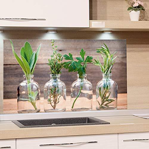 GRAZDesign Glasplatte Küchenrückwand Glas-Bild Spritzschutz Herd Edler Kunstdruck hinter Glas Bild-Motiv Gewürze Eyecatcher für Zuhause / 100x60cm