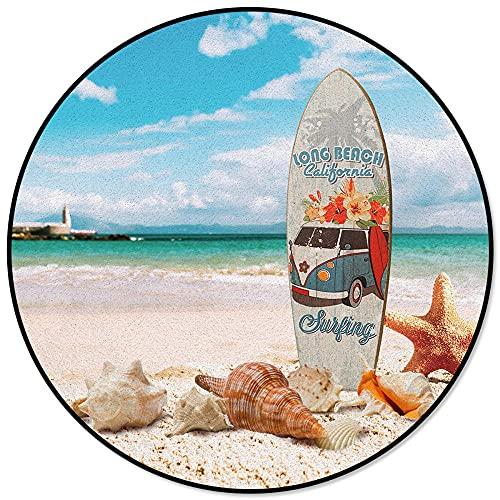 Tabla de Surf Playa Estrella de mar Concha Alfombra Antideslizante Redonda Alfombra de Dormitorio para niños Alfombra de Sala de Estar Silla de computadora Pad-L
