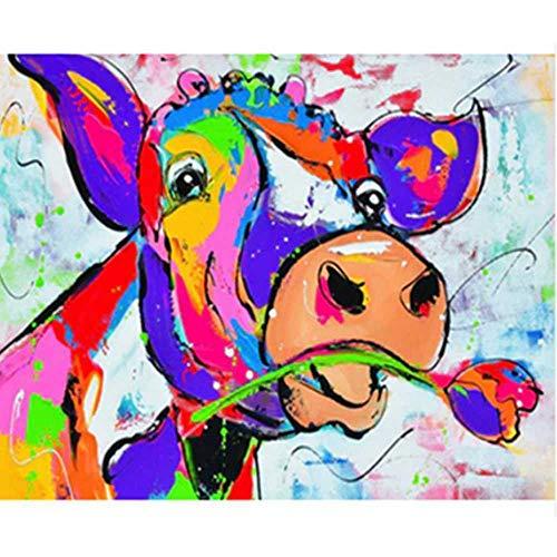 nobrand Malen Nach Zahlen DIY Eine Kuh, Die Eine Rose BeißtTier Leinwand Hochzeitsdekoration Kunst Bild Geschenk