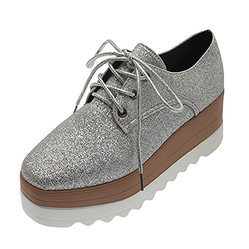 iCODOD Womens Platform Sneakers Casual Lace Up Sneakers Shoes Comfy Walking Shoes Crystal Sneakers for Glitter Dress