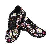 InterestPrint Women's Running Shoes Tennis Athletic Jogging Sport Walking Sneakers US10 Sugar Skull Day of The Dead Mexican Style Dia De Los Muertos