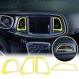 JeCar Center Console Air Conditioner Outlet Vent Trim Accessories for Dodge Challenger 2015-2020 (Yellow, 4pcs)