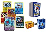 100 Assorted Pokemon Cards - 1 GX OR V Ultra Rare and 100 Additonal Common/Uncommons Cards - Authentic with No Duplication - Includes Golden Groundhog Treasure Chest Storage Box