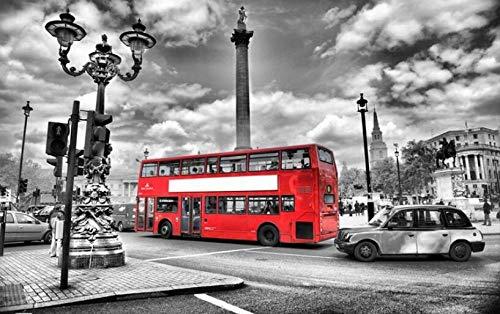 MIYCOLOR Aangepaste behang muurschildering HD zwart-wit Street View rode bus achtergrond decoratieve muur 3d behang, 300x210 cm (118,1 bij 82,7 inch)