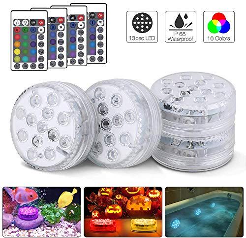 Unterwasser LED Licht Poolbeleuchtung,4 Stück mit Fernbedienungen, Komake RGB 13 LED Mehr Farbwechsel Wasserdichte IP68 LED-Leuchten für Aquarium,Hochzeit,Schwimmbad,Halloween,Party,Weihnachten