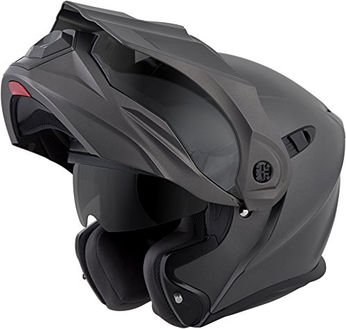 ScorpionEXO Unisex-Adult Modular/Flip Up Adventure Touring Motorcycle Helmet (Anthracite, Large) (EXO-AT950 Solid)