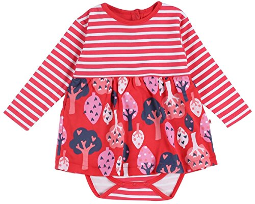 Piccalilly Coton Bio Rouge bébé Fille Forêt bébé Corps Robe - Rouge - 3 Mois