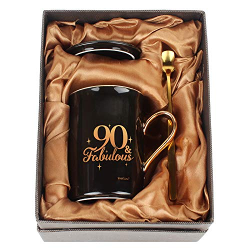 90 & Fabulous Black and  Gold Ceramic Mug Set