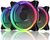 upHere 3-Pin 120mm Arcobaleno dinamico LED Ventola da Super Silenzioso 3 Pack, F03CF