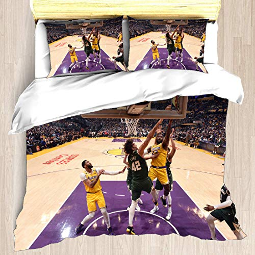 Juego de funda nórdica Asociación nacional de ropa de cama para jugadores de baloncesto Playoffs Finales Allstar Super Star Juego de disposición inversa Reloj Colcha con 2 fundas de almohada Semifinal