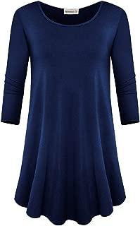 ZENNILO Women's 3/4 Sleeve Scoop Neck Tunic Top Casual T Shirt