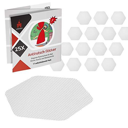 Lieburg Anti Rutsch Aufkleber für Badewanne & Dusche - XXL [25x] Sticker - Badewanne Antirutsch - transparent & selbstklebend - 10,5cm Sechseck - Badewannensticker - Antirutsch Dusche