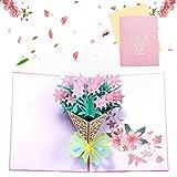Bohend 3D Compleanno Biglietto d'auguri Apparire Carte del Ringraziamento Fiore Carte di San Valentino Schede vuote Carte di buste per Mamma Papà Famiglia Amici Insegnanti Bambini