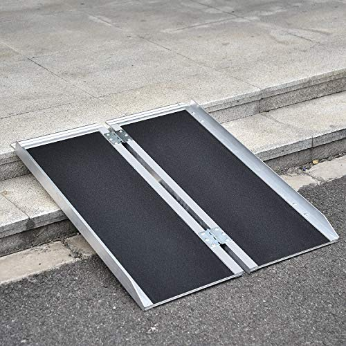 Fullwatt 3FT Non Skid Aluminum Portable Wheelchair Ramp Folding Portable Wheelchair Scooter Ramp with Carrying Handle 36 Inch x 31 Inch