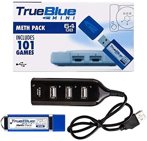 Consegna gratuita True Blue Mini Meth Pack USB Flash Drive Memory Stick da 64 GB per giochi con hub a 4 porte per Playstation Classic - Include 101 giochi