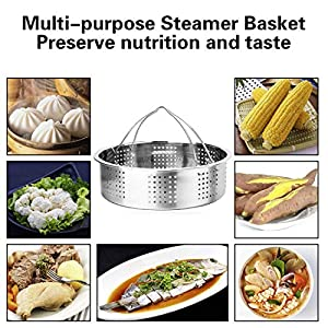 "Steamer Basket, Egg Rack Holder, 7"" Non-stick Springform Cake Pan, 50 Pcs Cake Paper for Instant Pot Accessories, Vegetable Food Steamer Rack. Fit Pot 5,6,8 qt Pressure Cooker, Stainless Steel, 4 Pcs"