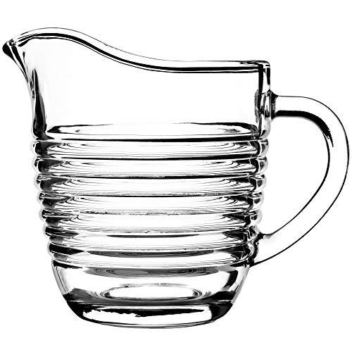 KADAX Milchkännchen aus Glas, Milchkanne mit Griff, Sahnekanne, Krug, Sauciere, kleine Glaskanne für Milch, Sahne, Sauce, Kaffee, einfach zu reinigen, transparent (200 ml, Streifen)