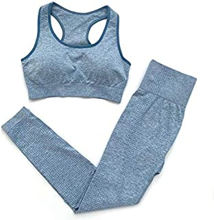 XFKLJ Sports Bra Yoga Pants 2PCS Seamless Yoga Suits Women Energy Gym Fitness Clothing High Waist Leggings Bra Yoga Sets T...