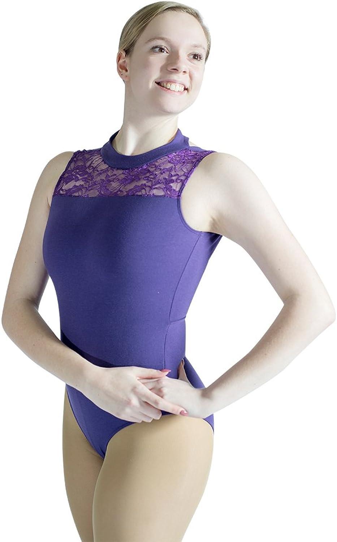 HDW DANCE Women Ballet Dance Leotard Lace Turtle Neck Microfiber Bodysuit