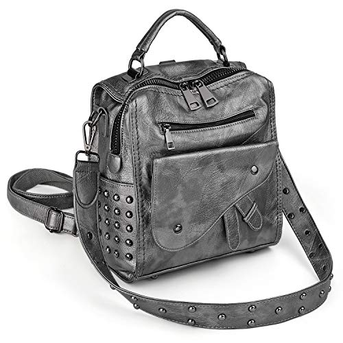 UTO Women Studded Small Backpack Convertible Ladies Rucksack Shoulder Bag PU Leather Silver Grey