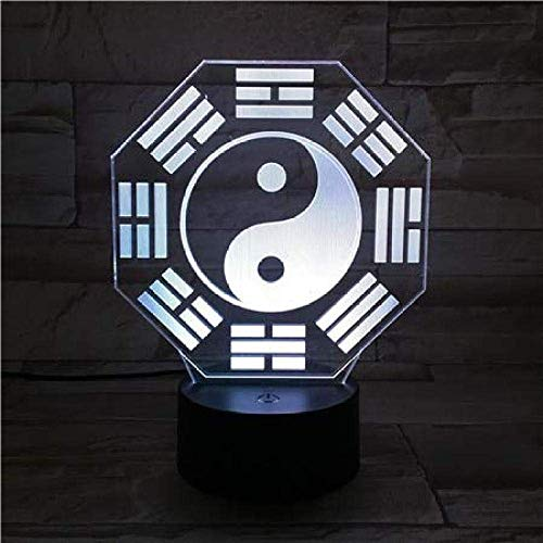 Ocho Trigrams Led Luz Nocturna Sensor Táctil Rgb Lámpara Decorativa Niño Niños Cultura China Bagua Pa Kua Lámpara De Escritorio Mesita De Noche