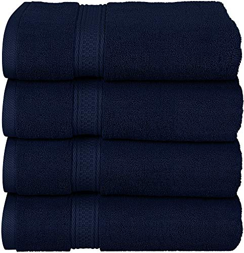 Utopia Towels - Bath Towels Set, Navy- Premium 600 GSM 100% Ring Spun Cotton - Quick Dry, Highly Absorbent, Soft Feel Towels, Perfect for Daily Use (4-Pack)